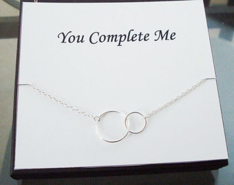 Double Circle Infinity Link Sterling Silver Necklace ~~Personalized Jewelry Gift Card for Mom, Friend, Sister, Bridal Party, Wife, Weddings