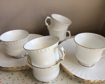 Set of 6 Crown Staffordshire Fine Bone China, Teacups & Large Scalloped Saucers