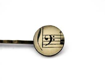 "Bohemian hair clip ""sheet music: clef""-retro vintage glass brass bronze"