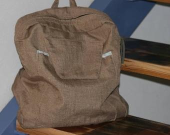 Handmade Back Bag, Linen + Polyester Back Bag, Women Upholstery fabric Back bag,  Handmade Gift , Beige Upholstery fabric  Back Bag,