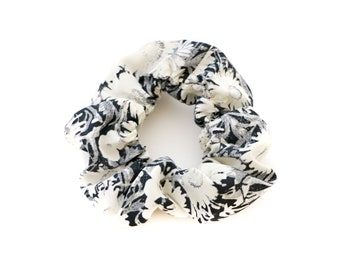 Black and White Daisy Scrunchie - Made from 1950s Silky Fabric - Neutral Fun Floral Print - by Mane Message on Etsy