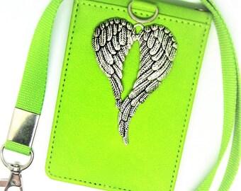 PU Leather Lanyard ID Holder-Angel Badge Holder-Wallet-Teacher Id-Student ID-Work Badge Lanyard-sjo Handcrafted