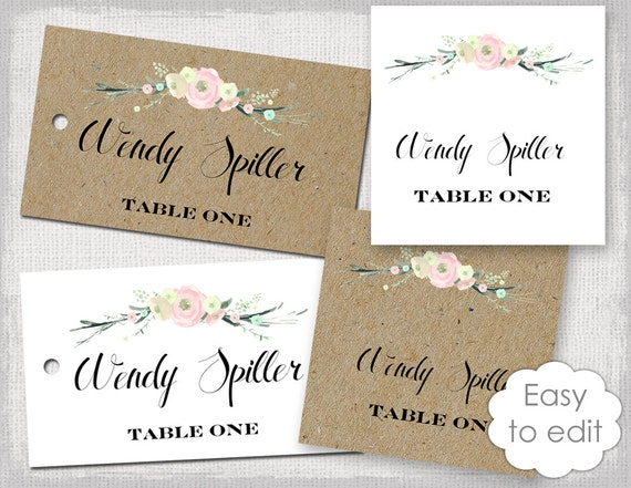 rustic name card template rustic flowers blush