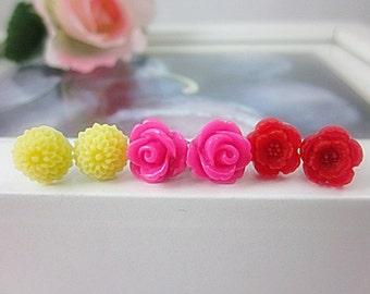 Set of 3 Flower Stud Earrings.  Red, Cream, Pink  flowers.  Gift for her.