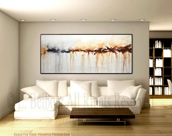 Large abstract painting original art 6ft large white brown modern abstract big oil painting wall art large artwork 30 x 72 by L.Beiboer