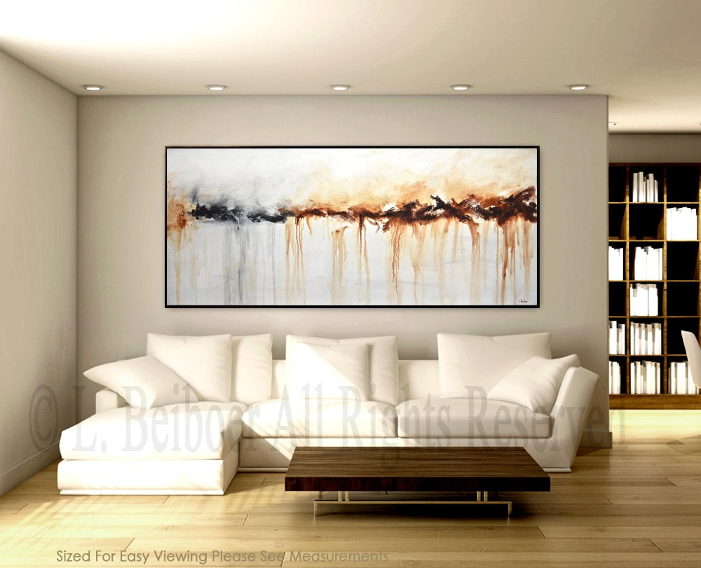 Large abstract painting original art 6ft large white brown