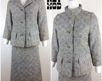 Sassy Vintage 50s 60s Blue & Beige Tweed Two-Piece Jacket and Skirt Suit