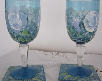 ON SALE Glasses (2)  blue white roses green leaves baby breath matching Coasters hand painted Wine Glasses, Anniversary, Birthday, Bridal