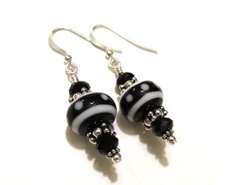 Black & White Polka Dot Lampwork Earrings With Black Swarovski Crystals, Black Lampwork Earrings, Lampwork Jewelry, Black Earrings