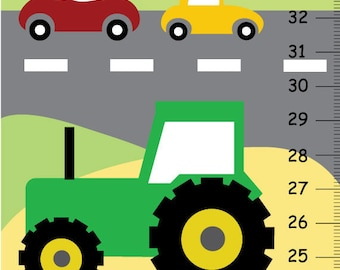 Transportation Canvas Growth Chart -Tractor, Plane and Truck.