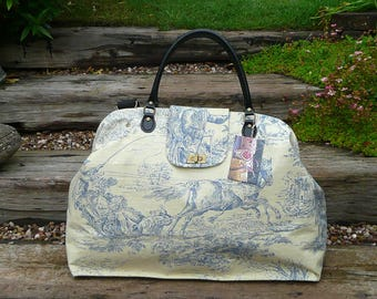 Weekender Bag, large Carpet Bag, Mary Poppins Bag, Carpet Bag, Overnight bag, luggage and travel, Blue & Cream Toile De Jouy Print Cotton