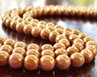 Opaque Rose Gold Topaz Luster 6mm Czech Glass Round Druk Bead : 50 pc