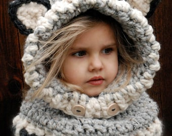 CROCHET PATTERN - Woodlynn Wolf Cowl (12/18 months, Toddler, Child, Adult sizes)
