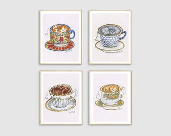 Cat Teacup Art Prints from Lisa Vissichelli Designs