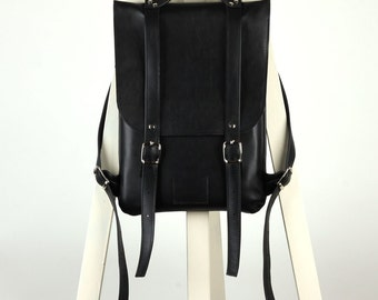 Black leather backpack rucksack / To order / Black Leather Backpack / Leather Backpack / Womens backpack / Christmas Gift /