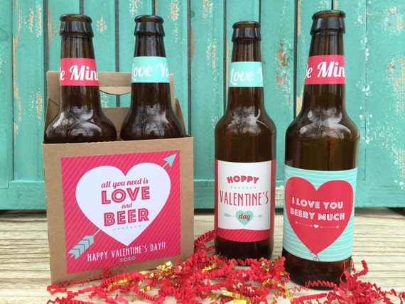 valentines beer labels valentines gift for him gift for husband beer lover gift valentines day all you need is love and beer