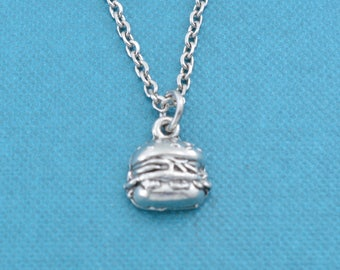 "Hamburger necklace on 16"" silver stainless steel chain.  Fast food jewelry.  Fast Food Gifts.  Hamburger necklace.  Hamburger charm."