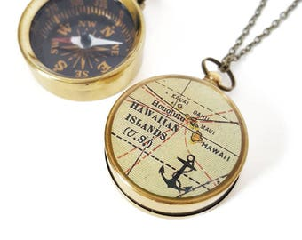 Hawaiian Islands Map Compass Necklace - Working Pocket Compass - Antique Map, Nautical, Brass Chain, Hawaii