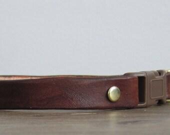 Purrfect Leather Cat Collar - Brown - Breakaway Safety Leather Cat Collar - Brass