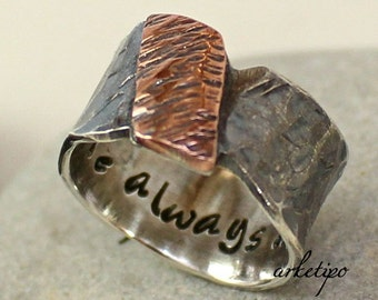 Men's Ring - Personalized Sterling Silver Ring - Ring for Men-  Hammered Band - Black Ring - Oxidized -Personalized Ring for Men