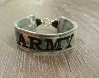 U.S. Army Name Tape Military Bracelet, Army Camo Bracelet, Custom Army Jewelry, Army Gifts