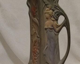 Weller Art Nouveau Handled Vase Poppy / Woman / Fruit