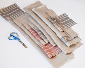Rustic linen remnants, pure linen fabric bundle, natural linen fabric, organic linen scraps, fabric bundle, prewashed vintage linen