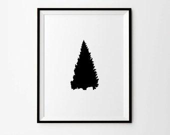 Tree Art, Black tree, Fir tree Print, Printables Decor, Black and White Decor, Black Decor, Scandinavian print, Black and White Antlers