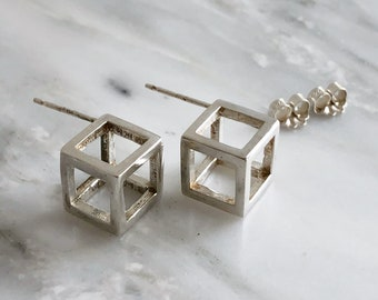 Sterling Silver Cube Earrings, Minimal Stud Earrings, 3D Stud Earrings, Geometric Earrings, Small Contemporary Studs, Modern Studs, Cubes