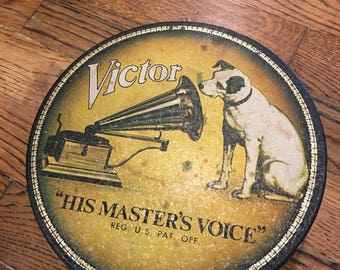 """Vintage, Victor Phonograph Tin, """"His Masters Voice"""" Great Condition"""