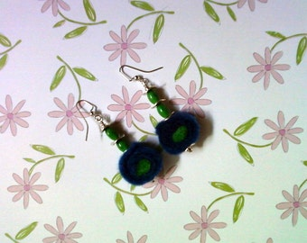 Blue and Green Felt Earrings (2151)