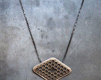 Retro Mod Honeycomb Mixed Metal Pendant and Chain // Hexagonal Brass Bee Hive over Sterling Silver & Sterling Silver Box Chain // Jetsons