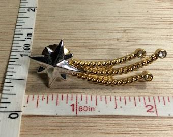 Vintage Silver Gold Toned Shooting Star Pin Brooch Rhinestones Used