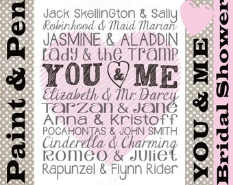 You & Me Printable- Famous Couples- Bridal Shower Printable- Bedroom Art- Bridal Shower Gift- Elizabeth n Mr. Darcy- Romeo n Juliet-