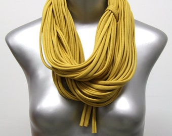 Statement Necklace, Infinity Scarf, Scarf Women, Scarves for Women, Travel Gift, Fabric Jewelry, Statement Jewelry, Yellow Scarf