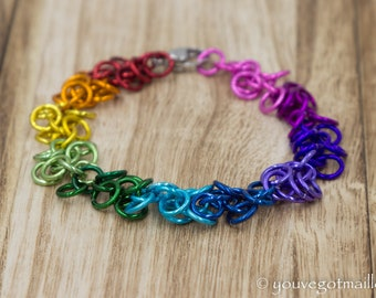 Rainbow Shaggy Loops Chainmaille Bracelet