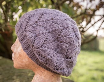 Grey/Purple Womens Winter Hat - Wool, Alpaca - Hand Knit - Ready to Ship