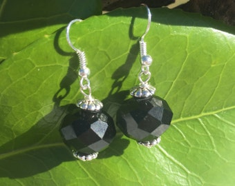 Black and Silver Earrings - Simple Black Earrings - Bead Earrings - Basic Black Earrings - Short Earrings - Glass Bead Jewelry