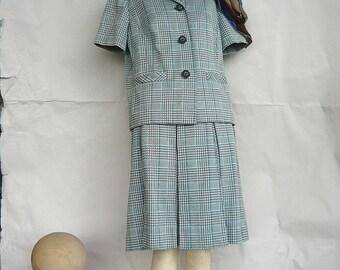 Vintage 60s Cotton Suit  size 6 8 10  Pleat Skirt Box Jacket  2pc  Blue Modish Mad Men School Girl