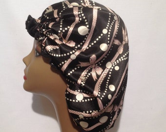 Pearls, Ribbons and Bows  Satin Bonnet  (Large Size)