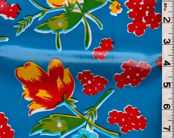 Blue Floral Oilcloth, Fabric By The Yard