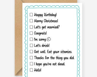 Check box greeting card, funny greeting card, lots of occasions, blank inside, recycled card