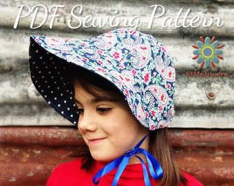 BONNET Sewing Pattern, Hat PDF Pattern, Girls Hat Pattern, Womens Hat Pattern, Sew Vintage Bonnet, Fur Brim Hat Pattern, Vintage Hat Pattern
