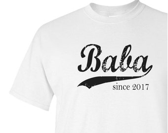 Baba since ANY year screen print tee, grandpa gift, personalized papa shirt, father's day gift, grandfather gift, new grandpa, graphic tee