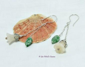 Flower Earrings. Floral Jewelry. Jade Earring Gift. Chain Drop Earrings. Yellow Jade Bell Flower. Gemstone Gift Idea. Stone Jewellery. A0228