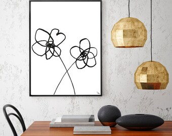 Black and White Painting Modern Flower Art Minimalist Art Original Abstract Art Abstract Painting Black White Art Contemporary Floral Art