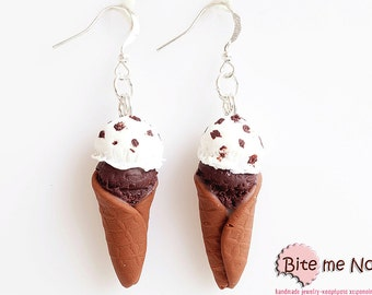 Food Jewelry Ice Cream Cones Choco-Biscuit Hook Earrings, Mini Food, Polymer Clay Sweets, Miniature Food, Kawaii Jewelry,Polymer Clay Charms