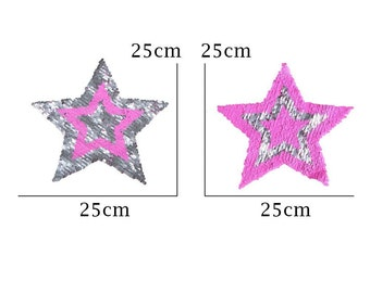 Star sequined applique, patch reversible, Pink Silver sequins, 25 cm