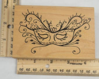 Wooden Mounted Masquerade Rubber Stamp The Stamping Bug #775