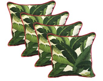"""Set of 4 ~ 17"""" x 17"""" Indoor / Outdoor Tommy Bahama Green Tropical Swaying Palms Fabric w/ Pink Cording Decorative Throw / Toss Pillows"""